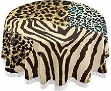 Mnsruu 60 Inch Round Animal Zebra Tiger Print