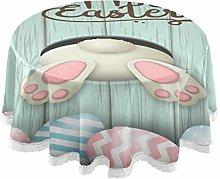 Mnsruu 60 Inch Round Easter Egg Wooden Rabbit