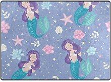 Mnsruu Area Rug Lilac Mermaid Rugs, Large Carpet