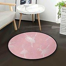 Mnsruu Ballerina Dancer Women Girl Pink Round Area