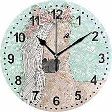 Mnsruu Bathroom Clock Horse Wall Clock for Living