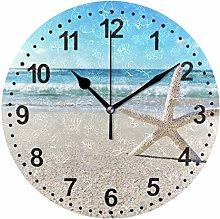 Mnsruu Bathroom Wall Clock Seashell Round Clock