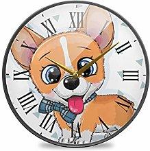 Mnsruu Bathroom Wall Clocks Dog 9.5 Inch