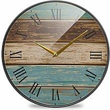 Mnsruu Bathroom Wall Clocks Wooden Old Teal 12