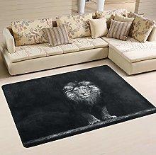MNSRUU Black Lion Artwork Area Rug Rugs for Living