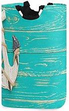 Mnsruu Blue Wooden Anchor Laundry Basket Hamper