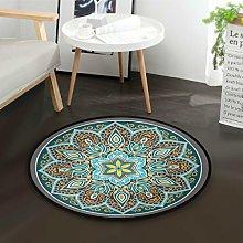 Mnsruu Boho Mandala Turquoise Round Area Rug for