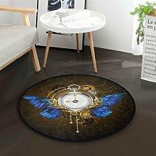 Mnsruu Butterfly Clock Steampunk Round Area Rug