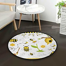 Mnsruu Cartoon Sunflower Bee Round Area Rug for