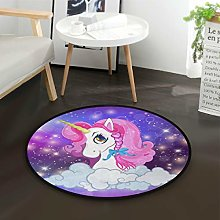Mnsruu Cartoon Unicorn Pink Cloud Starry Round