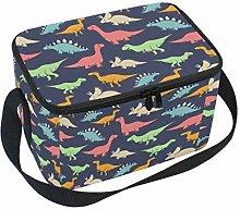 Mnsruu Colorful Dinosaur PatternLunchbag Lunchbox