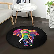 Mnsruu Colorful Elephant Black Round Area Rug for