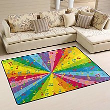 Mnsruu Colorful Music Notes Rainbow Area Rug for
