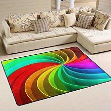 Mnsruu Colorful Rainbow Area Rug Rugs for Living