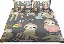 MNSRUU Cute Baby Sloth Duvet Cover Set Double