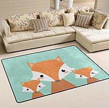 Mnsruu Cute Fox Family Area Rug for Living Room