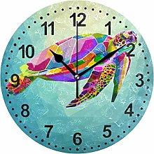Mnsruu Decorative Wall Clock Colorful Turtle