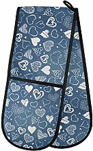 MNSRUU Double Oven Gloves, Navy Flowers And Hearts
