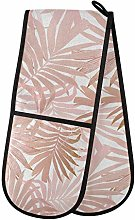 MNSRUU Double Oven Gloves, Pink Leave Double Oven