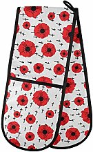 MNSRUU Double Oven Gloves, Red Flowers Oven Mitts