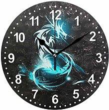 Mnsruu Dragon Round Wall Clock Non Ticking Silent