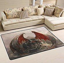 Mnsruu Dragon Sleeping Castle Area Rug Rugs for