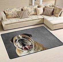 MNSRUU Funny Bulldog Puppy Dog Area Rug for Living