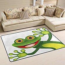 Mnsruu Funny Frog Green Summer Area Rug Rugs for