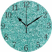 Mnsruu Glittery Teal Turquoise Wall Clock Silent