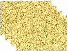 MNSRUU Gold Glitter Placemats Set of 6, Table