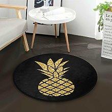 Mnsruu Gold Pineapple Black Round Area Rug for