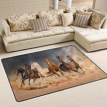 Mnsruu Horse Herd Run in Desert Sand Storm Art