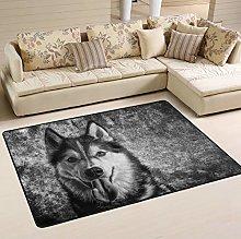 Mnsruu Husky Wolf Dog Area Rug Rugs for Living