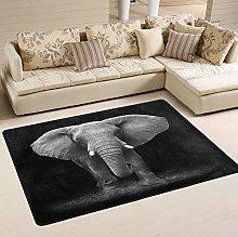 Mnsruu Indian Elephant Black Area Rug for Living