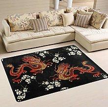 Mnsruu Japanese Chinese Dragon Flower Area Rug for