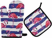 MNSRUU Kitchen Oven Mitt Pot Holder Set Flamingo
