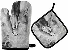 MNSRUU Kitchen Oven Mitt Pot Holder Set Gray Wolf