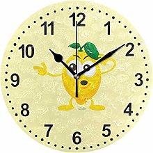 Mnsruu Lemon Round Wall Clock Non Ticking Silent
