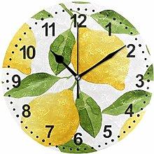 Mnsruu Lemons Round Wall Clock Non Ticking Silent
