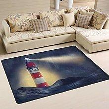 Mnsruu Lighthouse Night Area Rug for Living Room