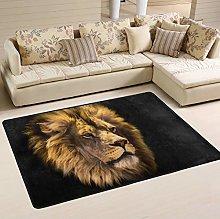 Mnsruu Lion Black Artwork Area Rug Rugs for Living