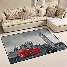Mnsruu London City Big Ben Red Bus Street Area Rug