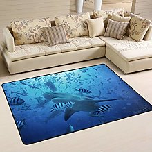 Mnsruu Ocean Sea Shark Fish Area Rug for Living