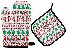 MNSRUU Oven Gloves and Pot Holders Set Christmas