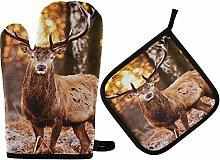 MNSRUU Oven Gloves and Pot Holders Set Deer Forest