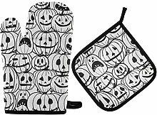 MNSRUU Oven Gloves and Pot Holders Set Halloween