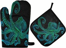 MNSRUU Oven Gloves and Pot Holders Set Octopus