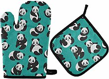MNSRUU Oven Gloves and Pot Holders Set Panda Oven