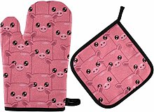 MNSRUU Oven Gloves and Pot Holders Set Pink Pig