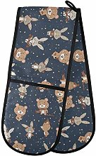 MNSRUU Oven Gloves, Cute Bunny And Bear Double